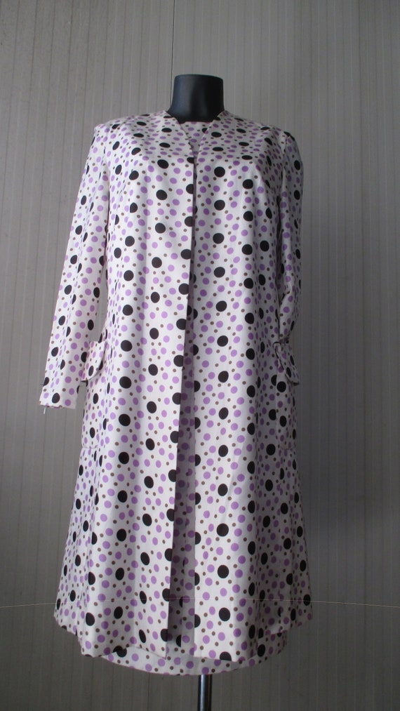 60s black and violet polka dots outfit by CLARITA