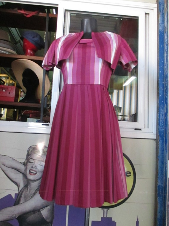 50s cherry dress outfit/Pleated dress and shrug/S… - image 1