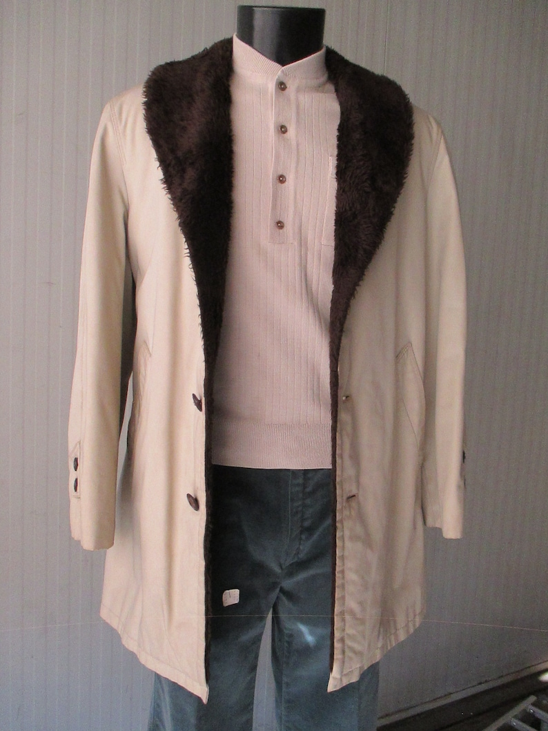 70s trench coat Made in Italy by NINO Brown faux  b7fd0c6aa52a