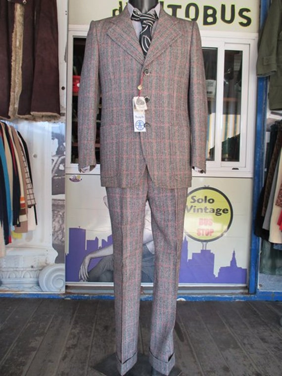 70s deadstock plaid suit/Flared pants/Original la… - image 2