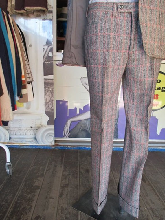 70s deadstock plaid suit/Flared pants/Original la… - image 3