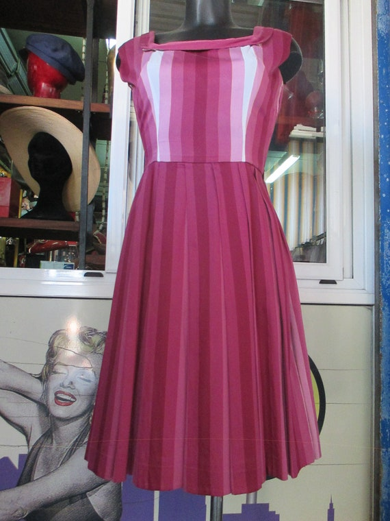 50s cherry dress outfit/Pleated dress and shrug/S… - image 2