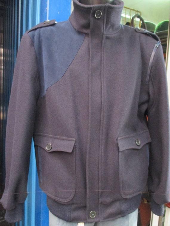 3645d1dca16c FILA 70s blue wool jacket Mandarin collar Suede insert Ribbed