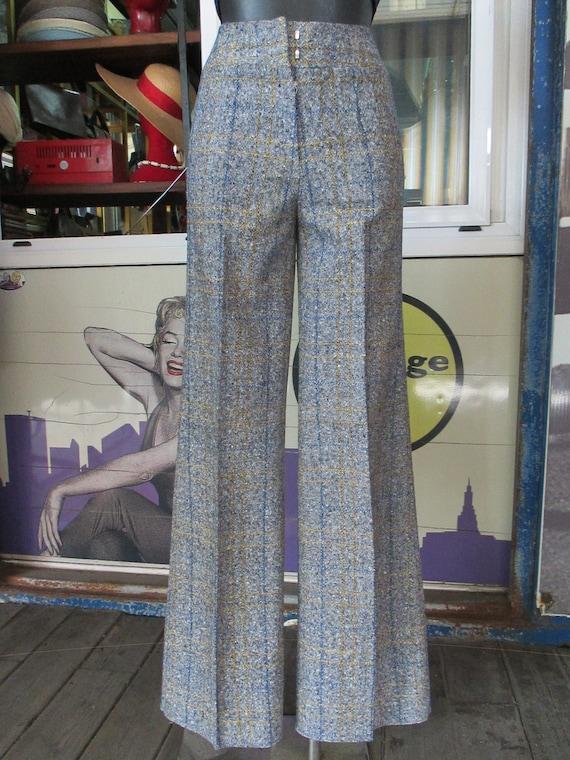 70s deadstock flared tweed pants/Vtg trousers/Blu… - image 2