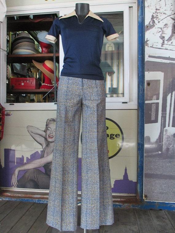 70s deadstock flared tweed pants/Vtg trousers/Blu