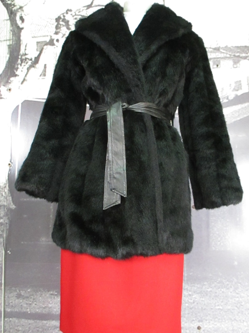 more photos 51775 56830 70s wrap black faux furcoat/No fastenings/Faux leather belt/No pockets/Size  S-M/Pellicciotto sintetico nero anni 70/Cintura ecopelle/Tg. S-M