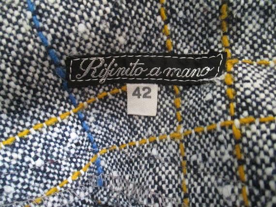 70s deadstock flared tweed pants/Vtg trousers/Blu… - image 9