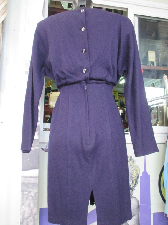 80s angora wool dress suit/Purple/Light violet st… - image 5