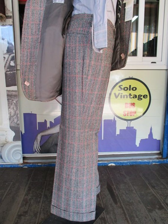 70s deadstock plaid suit/Flared pants/Original la… - image 4