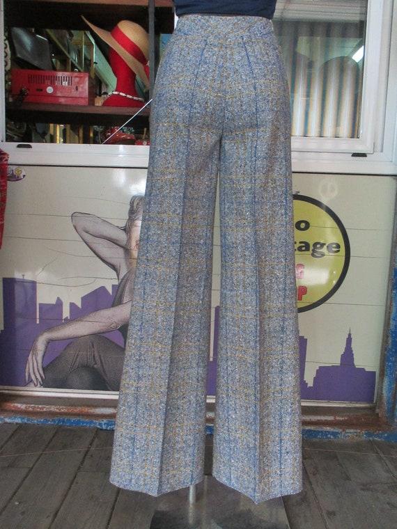 70s deadstock flared tweed pants/Vtg trousers/Blu… - image 6