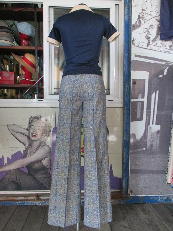 70s deadstock flared tweed pants/Vtg trousers/Blu… - image 7