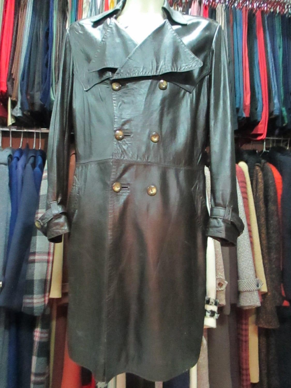 Anni 70 Colori 70s dark brown napa leather coat/dublebreasted/belt missing/wristband  strip/back slit/size l-42/trench pelle da uomo anni 70.marrone.tg l-52