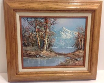 Signed Moncrief Oil On Canvass Painting Landscape Trees Lake Mountains