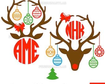 cceda31484437 Christmas Deer Antlers Monogram Files - Santa Reindeer Cut Files for Vinyl  Cutting Machines