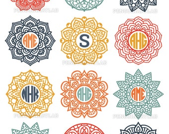 Mandala Circle Monogram Frame SVG Cut Files for Electronic Vinyl Cutter - Cricut, Silhouette, Screen Printing - svg, eps, dxf, png, studio3