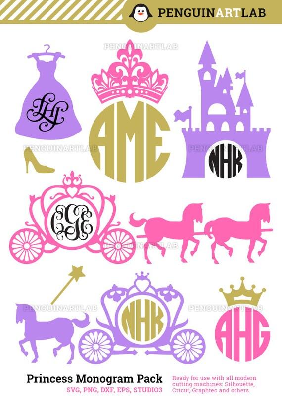 Monograma de carruaje de princesa Marcos corte SVG archivos | Etsy