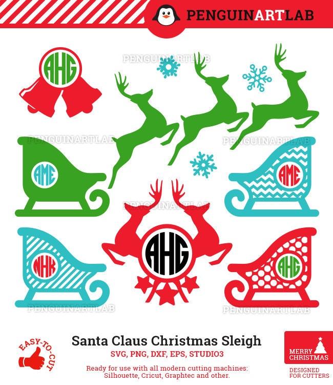 ab4684a62cb42 Santa Claus Sleigh and Reindeer SVG Monogram Files - Christmas Cut Files  for Vinyl Cutting Machines