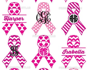 Awareness Ribbons SVG Cut Files - Monogram Frames and Patterned Split Ribbons - Breast Cancer Cut Files for Vinyl Cutting Machines