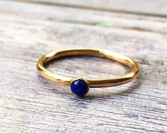 Lapis Lazuli ring, Blue gemstone stacking ring, Gold fill ring, Rose gold stacker ring, September birthday, September birthstone ring