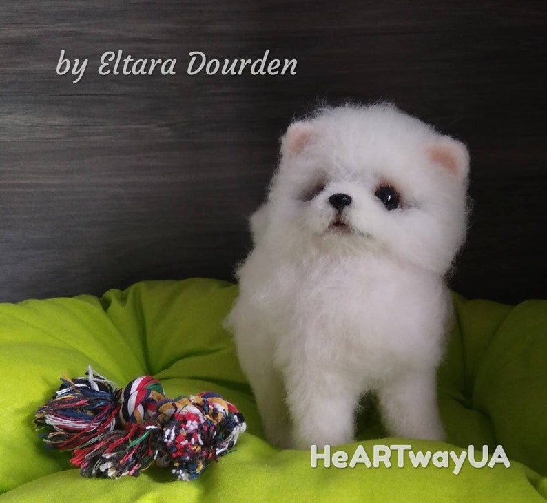 Snowball Pomeranian Puppy Ooak Needle Felted Collectable Etsy
