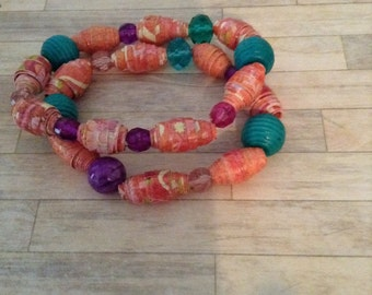 Orange Double Stack Bracelet