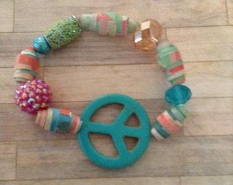 Peace Sign Paper Bead Bracelet