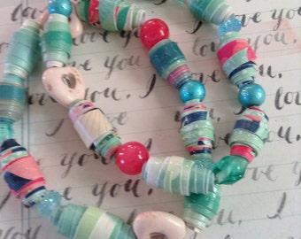 Green and Cream Paper Bead Bracelet