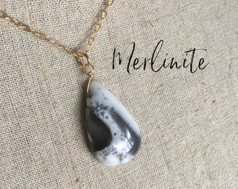 large merlinite gemstone necklace gift for her,gemstone jewellery gold necklace, Dendritic opal gemstone pendant,gemstone pendant
