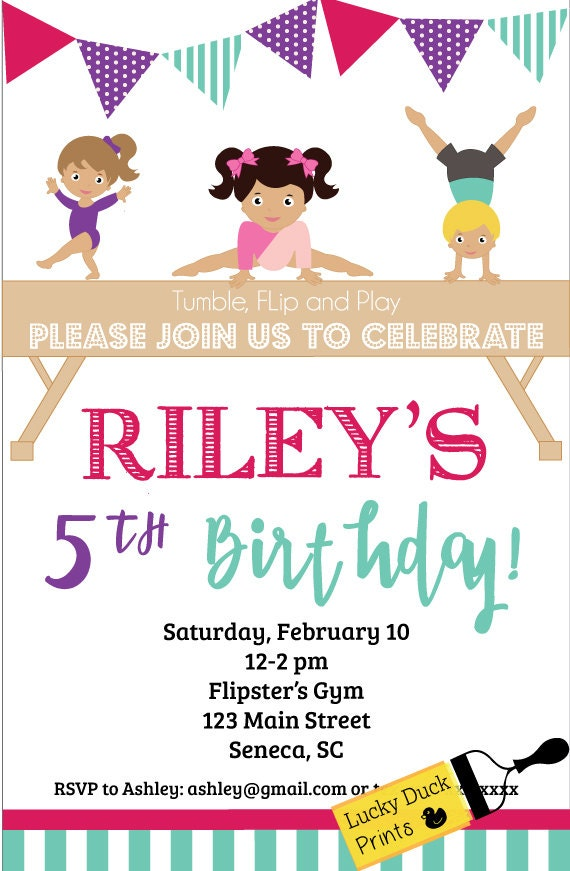 Gymnastics Birthday Invitation Invite Tumble