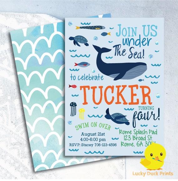 under sea birthday invitation under the sea ocean birthday etsy