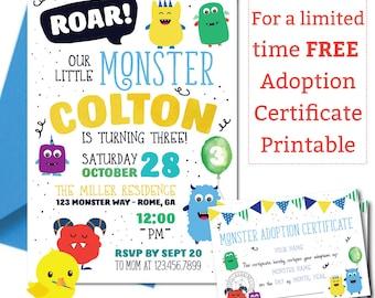 Monster Invitation | Monster Birthday Invitation | Monster Party | Little Monster First Birthday | Spooky Birthday | DIGITAL FILE ONLY