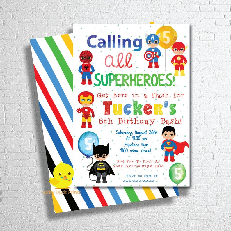 Superhero Invitation Super Hero Birthday Party
