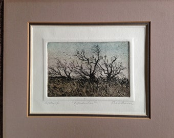 November Etching by Erickson artist's proof bare trees in the wind solitude