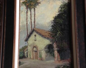 Signed Oil Painting, Southern California Coast, San Juan Capistrano Mission