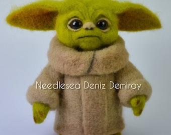 Needle felted Baby Yoda doll
