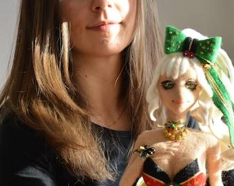 Needle felted anime girl for Christmas