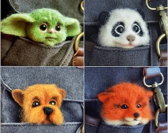 Needle Felted Baby Yoda, Fox, Panda and Dog Pins