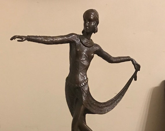 A Lovely Art Deco Bronze Figurine in the Manner of Josef Lorenzl