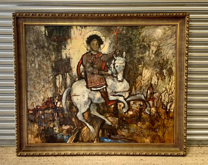 Very Large Original Oil on Canvas by the Russian Artist G Lev Saksonov Depicts St George On A White Horse dated 1994