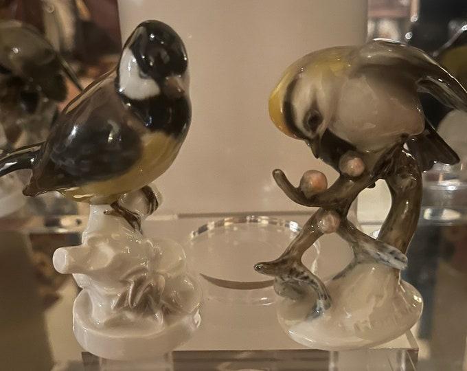 Two Beautiful Rosenthal Germany Hangemalt Bird Figurines