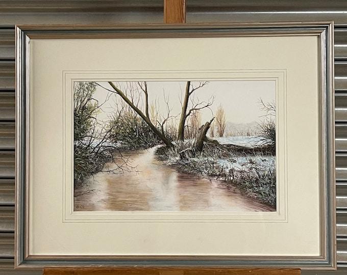 Original Pastel Artwork Titled Frost On The River Lea By Ronald C Salvesen.