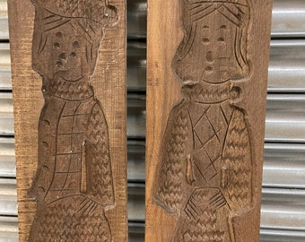 Pair Of Large Wooden Dutch Male And Female Figure Molds
