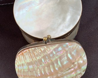 Fabulous 19th Century Victorian Mother of Pearl Purse with Red Interior and Circular Vintage Mother of Pearl and Brass Trinket Box