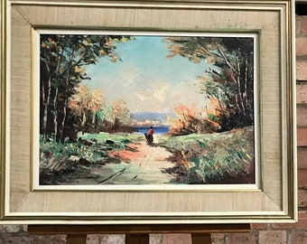 Beautiful Large Antique Original Continental Oil On Canvas Painting - Landscape Scene with Solitary Person Walking up a Path