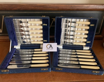 Two Vintage circa 1920's Boxed Sets Of Chrome Plated Fish Cutlery Sets in their original Blue Fitted Presentation Boxes by James Lodge Ltd