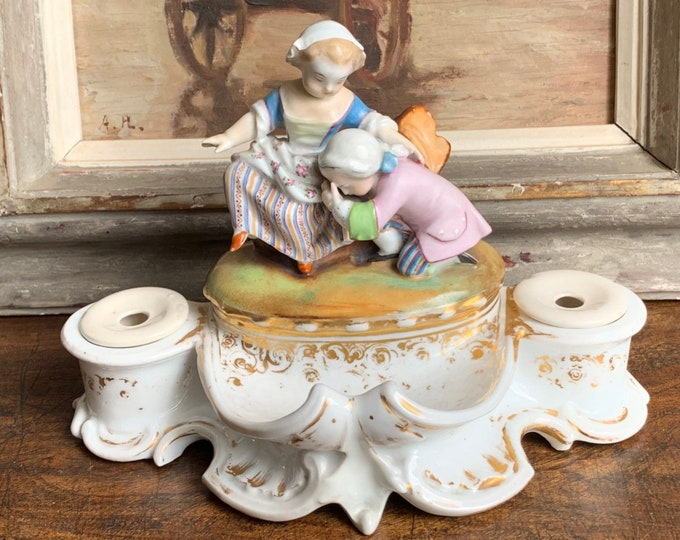 Beautiful Rare Late 18th/early 19th Century French Porcelain Double Encrier Inkwell