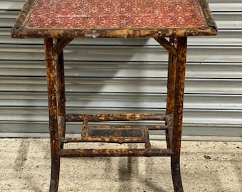 Original Vintage Antique Chinese Bamboo Side Table Or Occasional Table
