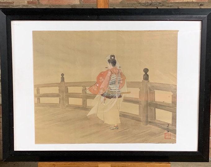 Wonderful Original Antique Watercolour on Silk Of A Japanese Samarui On A Bridge