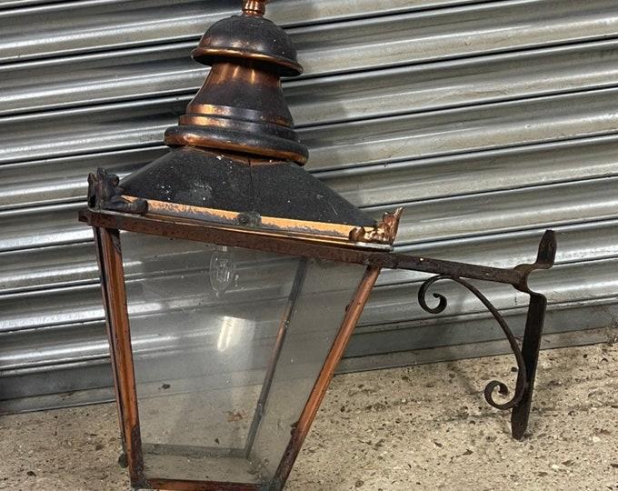 Large Victorian Era Copper Lantern With Wall Bracket