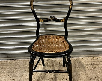 Wonderful Victorian Black Lacquered Bedroom Chair With Mother Of Pearl and Gilt Decoration